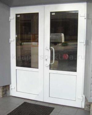 Дверь пластиковая двустворчатая 1800*2100 (теплая) белая с монтажом