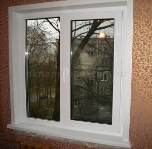 Окно 2 створки 1300 x 1400 Teplowin Classic 400( Plafen 58) Белый [32мм 4[10TwAr]4[10TwAr]4И]